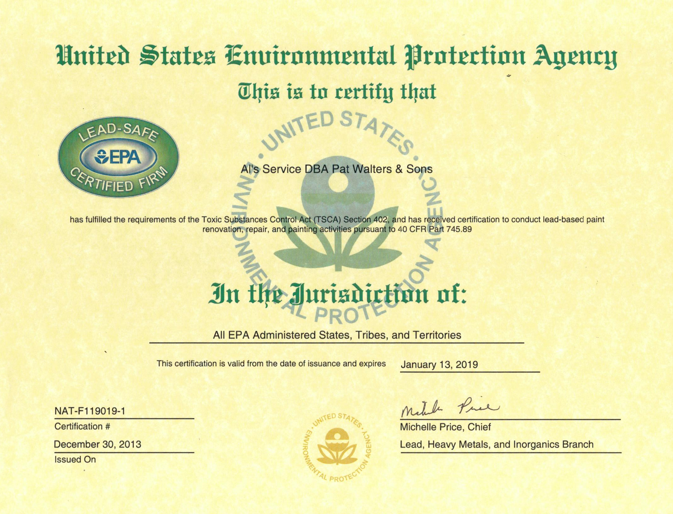 Epa Lead Safe Certified Pat Walters And Sons